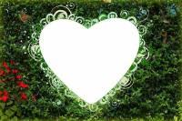 طرح لایه باز قاب عکس و فریم برای فتوشاپ با موضوع قلب سبز